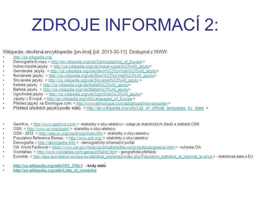 ZDROJE INFORMACÍ 2: Wikipedie, otevřená encyklopedie. [on-line]. [cit. 2013-30-11]. Dostupné z WWW: